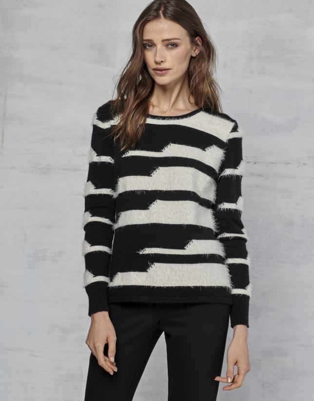 Black/white striped sweater
