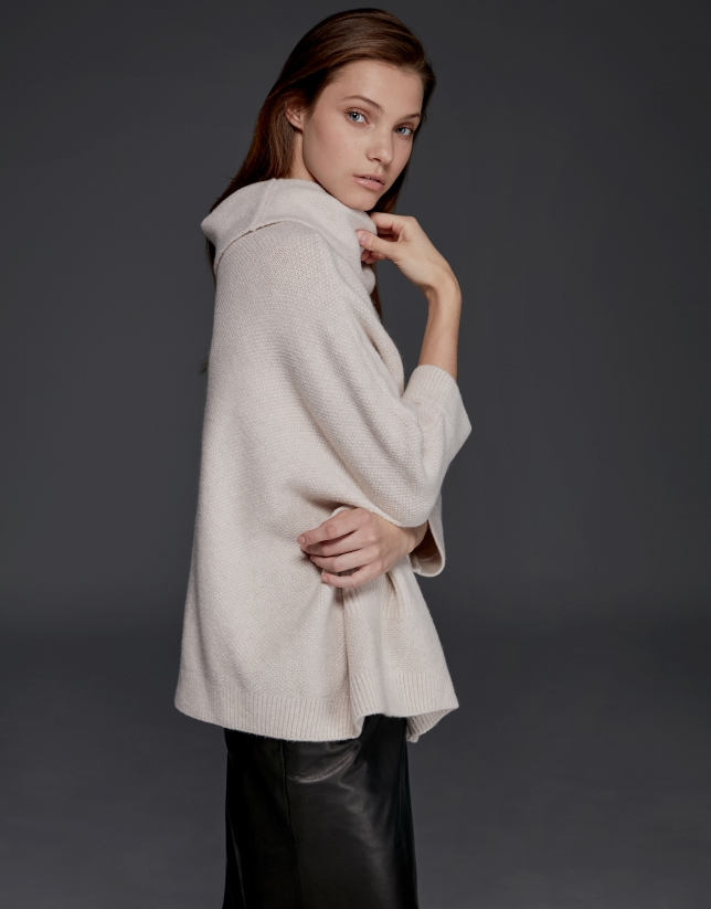 Light beige oversize sweater with Japanese sleeves