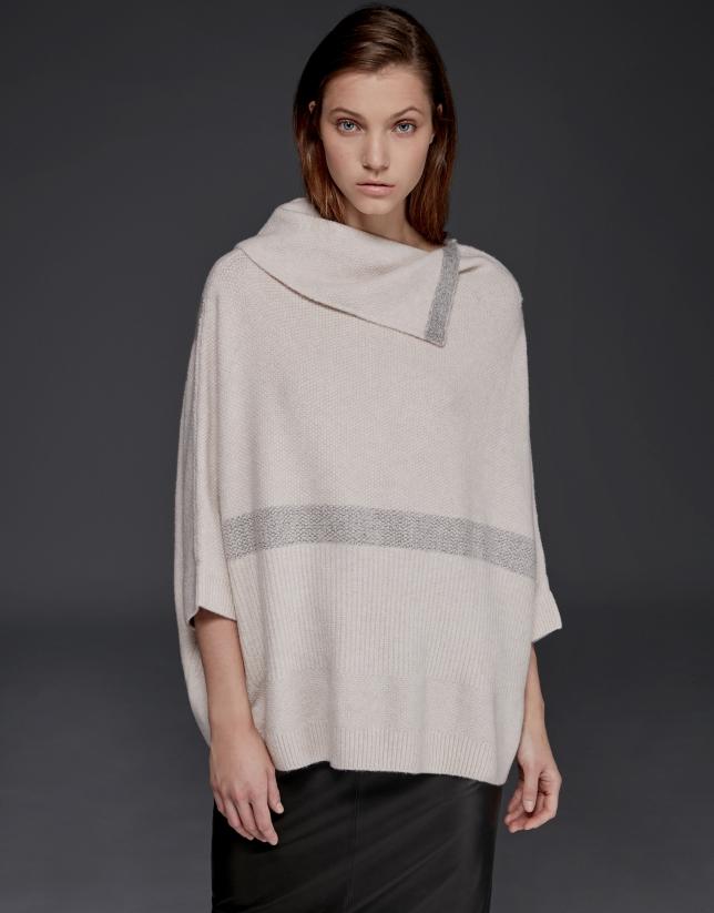 Pull oversize/surdimensionné couleur sable manches japonaises