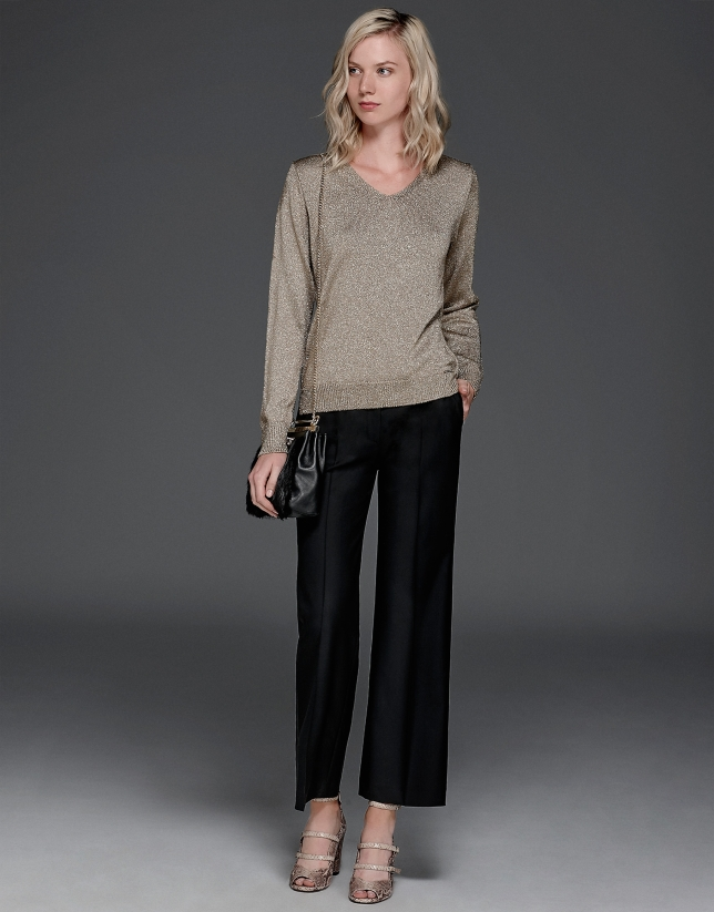 Metalized gold knit sweater