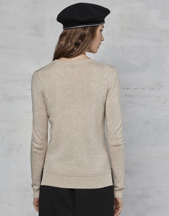 Pull en laine et cachemire couleur ivoire