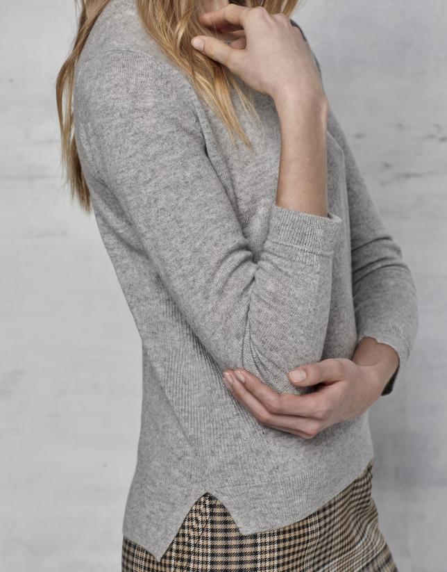 Pull en laine et cachemire gris argenté