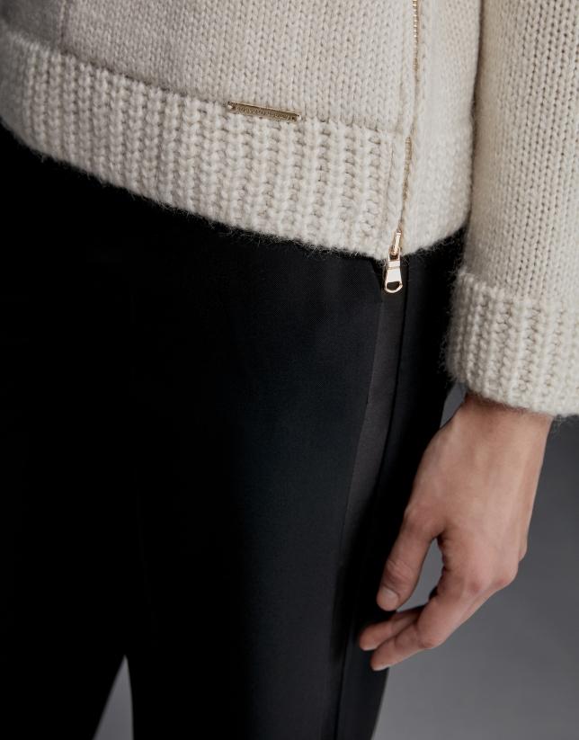Ivory sweatshirt-style sweater