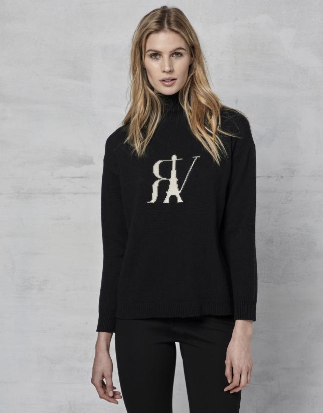 Jersey lana negro con RV