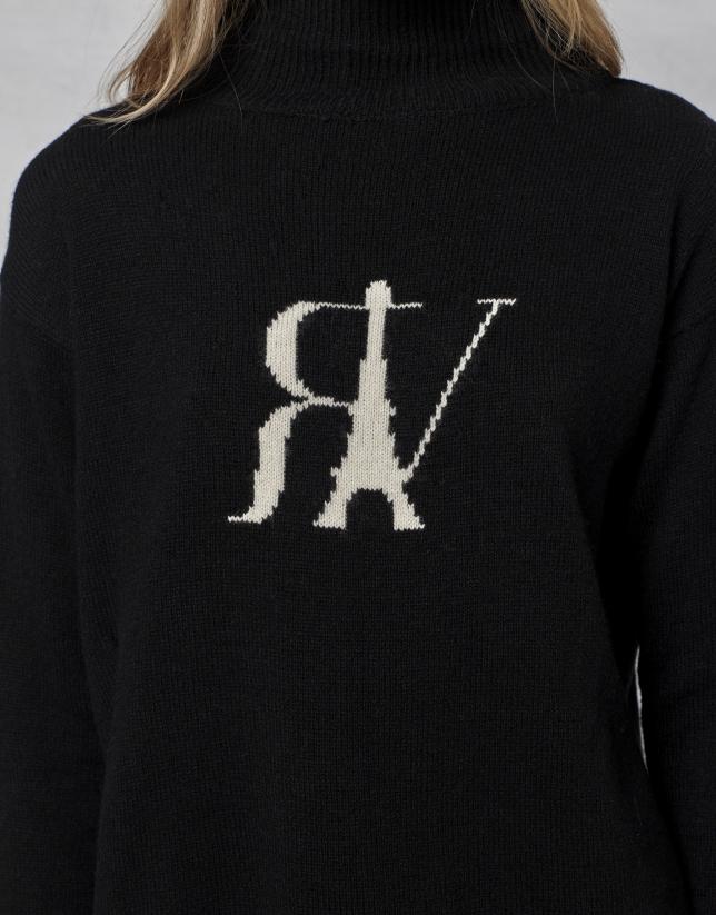 Black wool sweater with logo