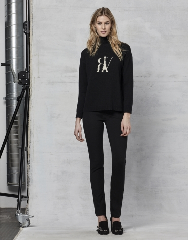 Black wool sweater with logo