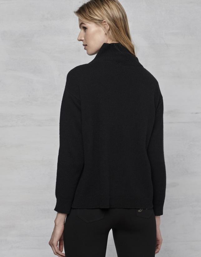 Pull noir en laine avec logo RV