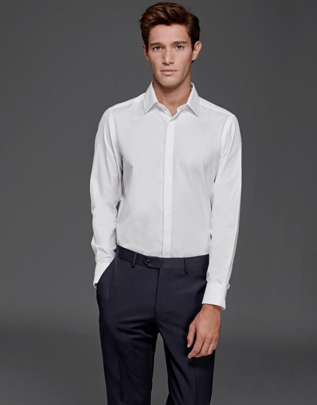 Camisa vestir con gemelo estructura blanca