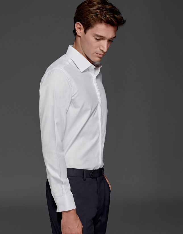 White dress shirt with cufflink sleeves