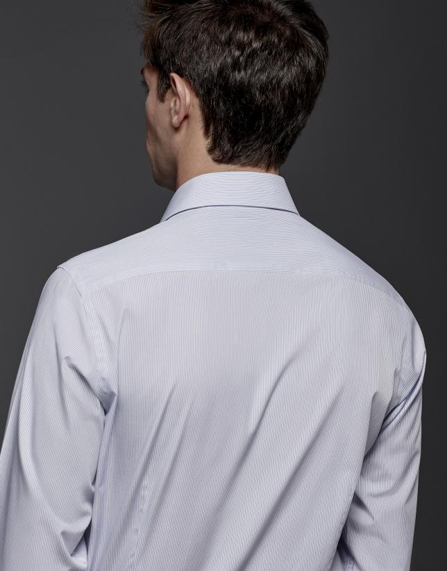 Chemise de costume à rayures bleu roi