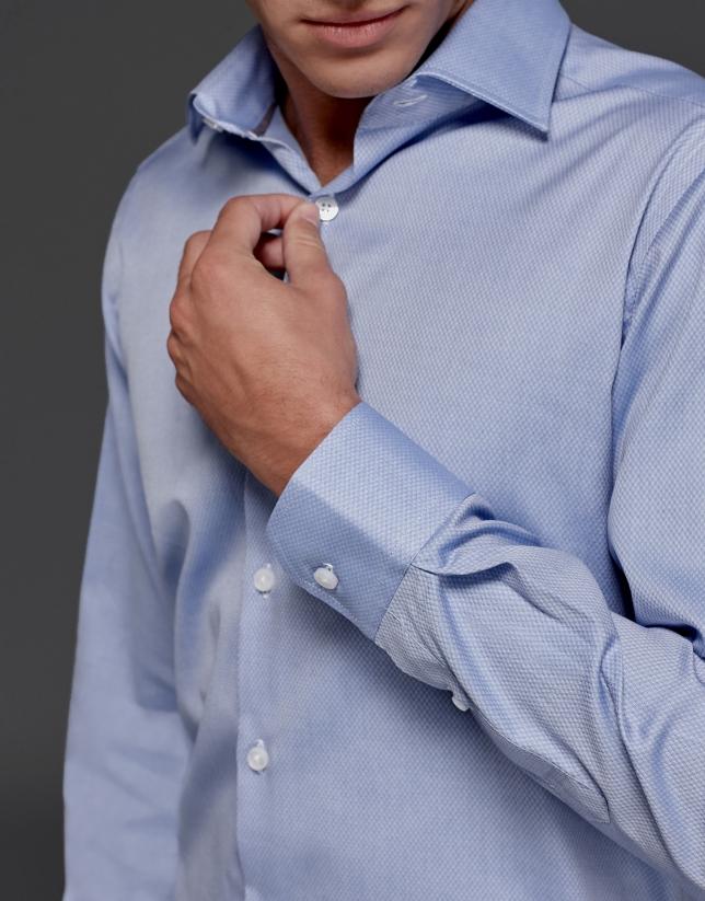 Blue dress shirt with diamond design