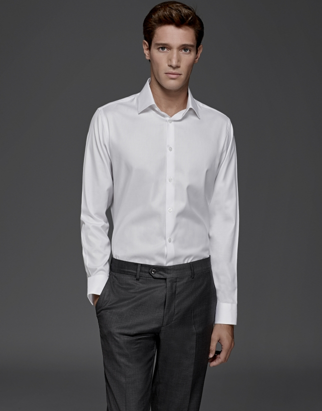 White micro-design dress shirt