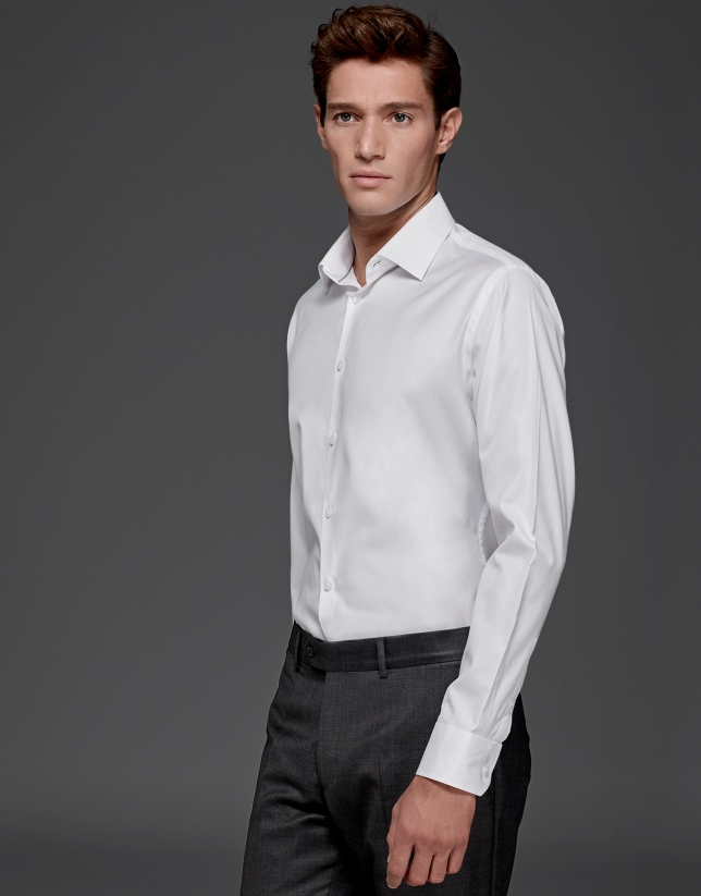 Chemise de costume micro-structurée blanche