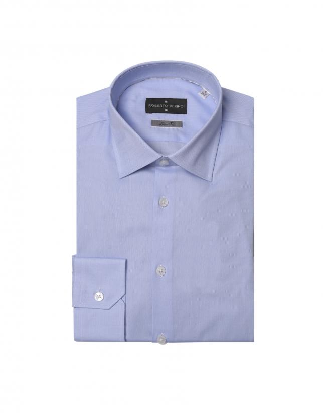 Chemise de costume micro-structurée bleu ciel