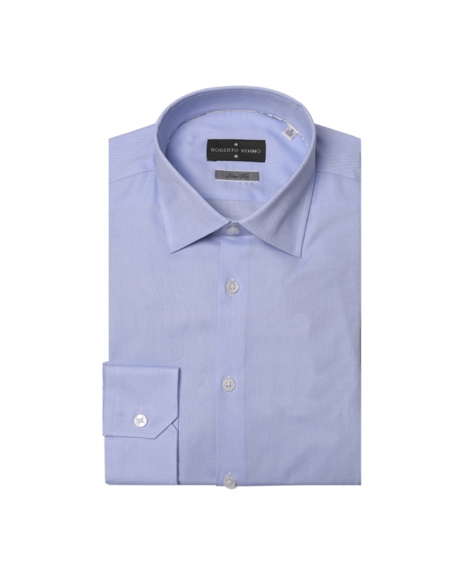 Light blue micro-design dress shirt
