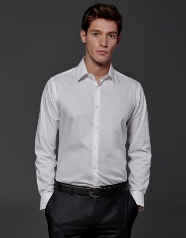 Camisa de vestir microdibujo blanco