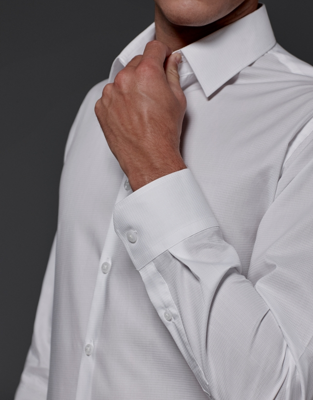 White microprint dress shirt