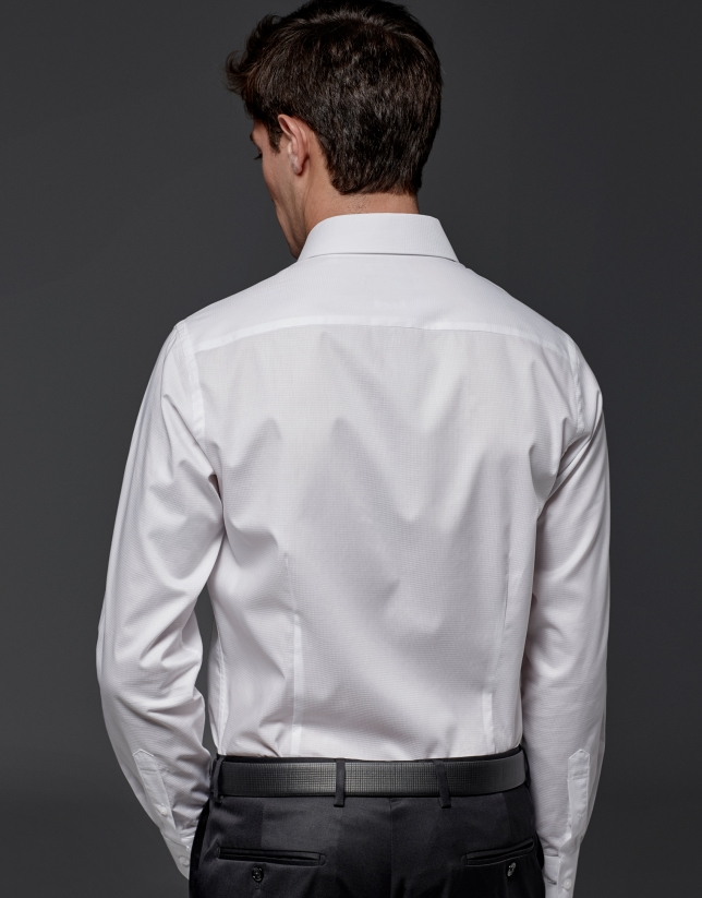 Chemise de costume à micro-motif blanc