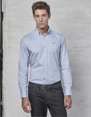 Camisa sport en oxford celeste