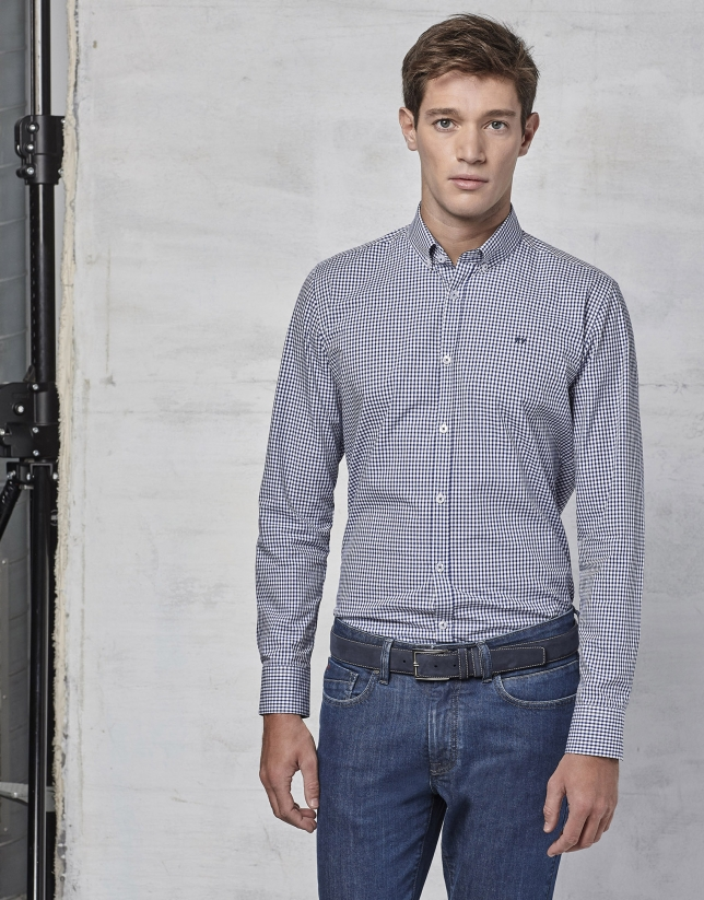 Navy blue Vichy shirt with design