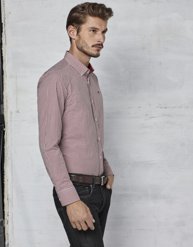 Maroon Vichy shirt with design