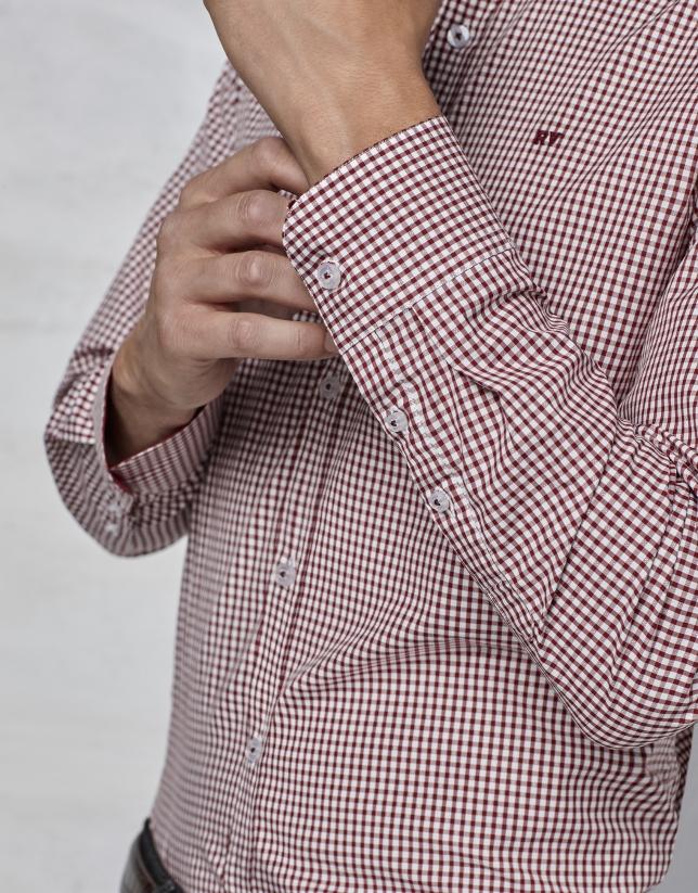 Maroon Vichy shirt with design
