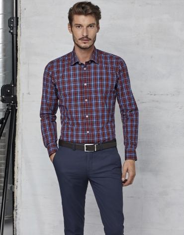 Chemise à carreaux en grenat/bleu