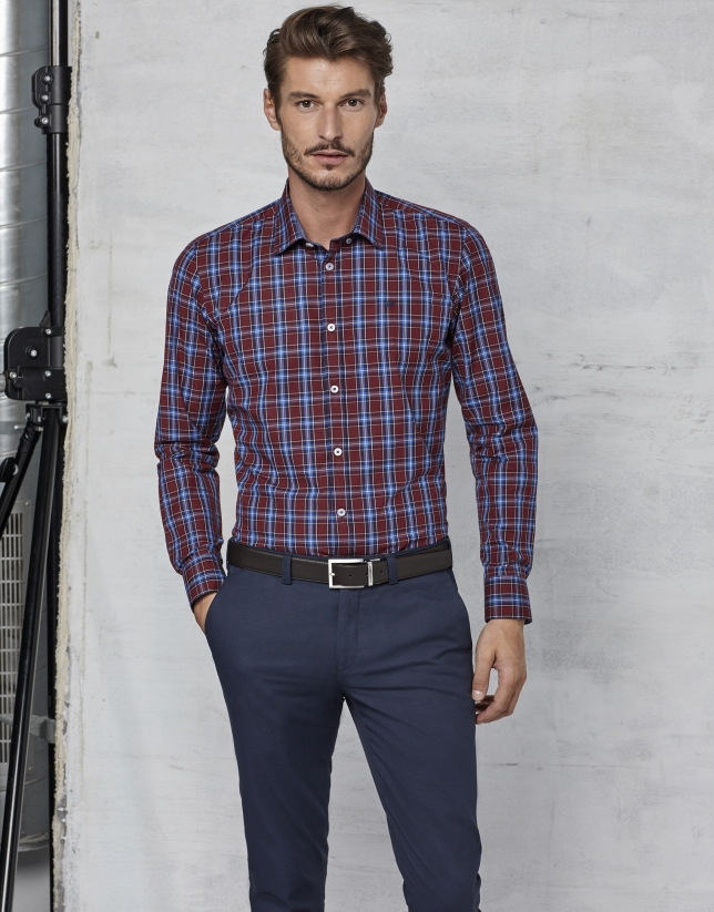 Maroon / blue checked shirt