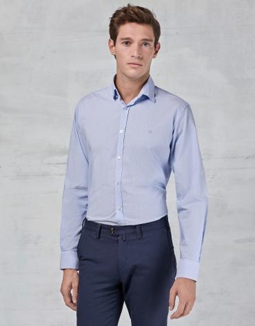 Chemise bleu ciel à micro-rayures fantaisie