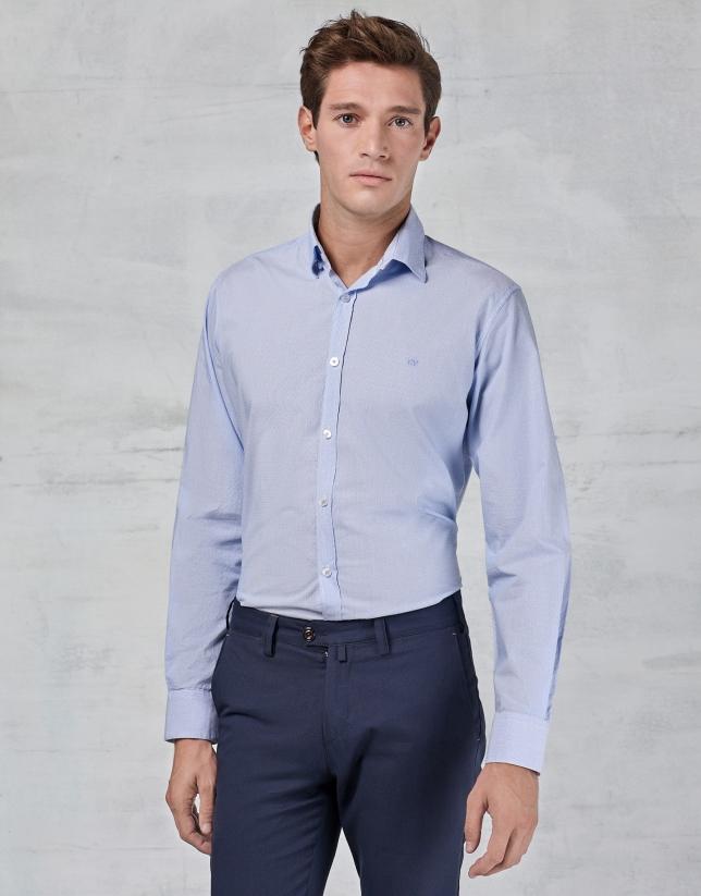 Camisa micro raya celeste con fantasía