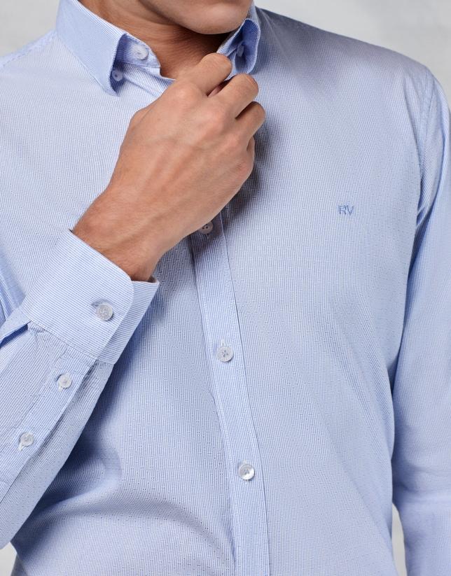 Light blue micro-striped shirt