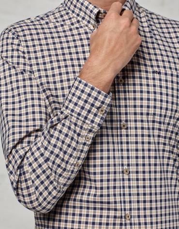 Chemise décontractée à carreaux en beige et bleu marine
