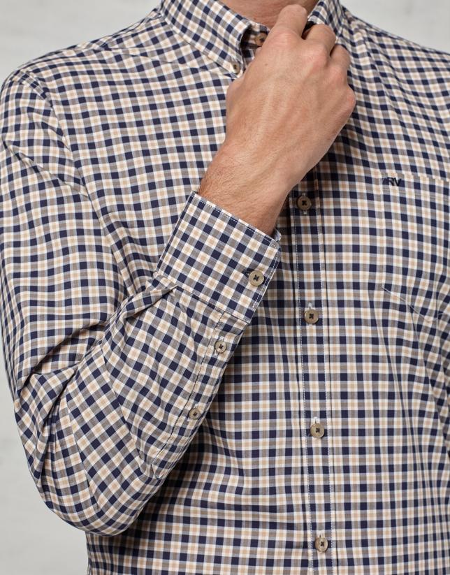 Camisa sport cuadros beige / marino