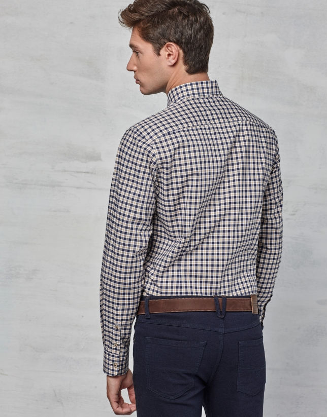 Navy blue / beige checked sport shirt