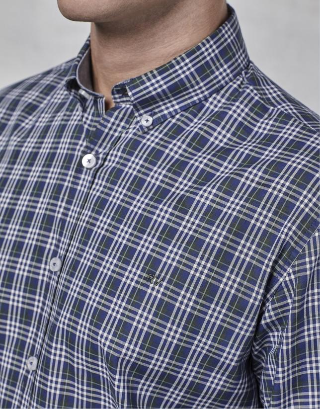 Camisa sport cuadros marino/verde/blanco