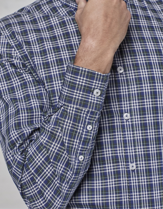 Navy blue / green / white checked sport shirt