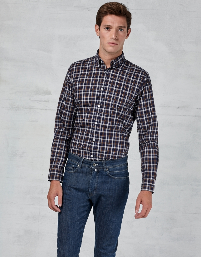 Brown / navy blue / white checked shirt