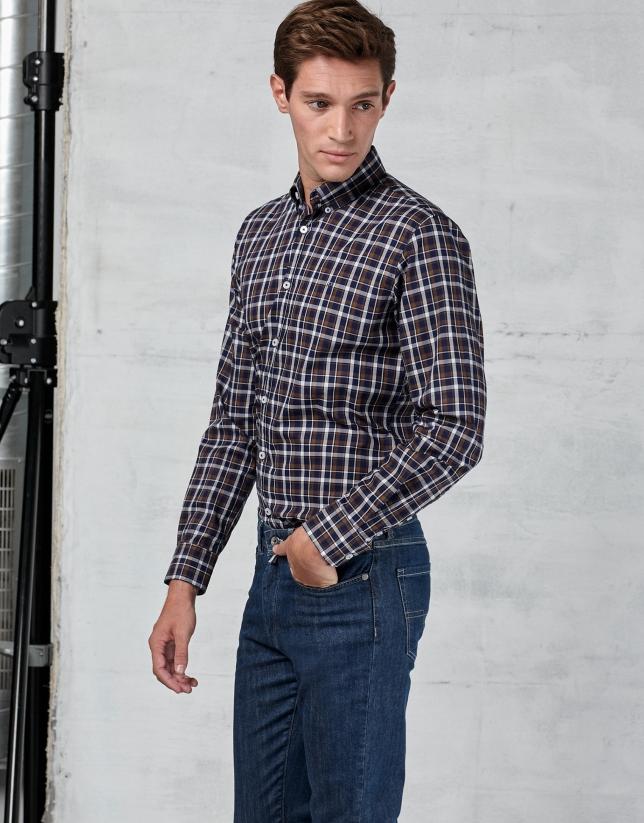 Chemise décontractée à carreaux en marron/bleu marine/blanc