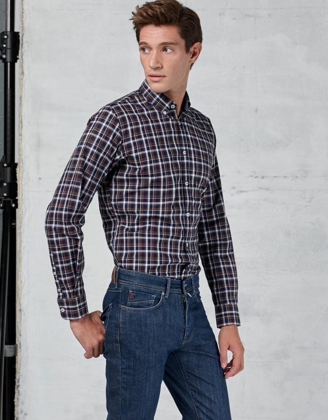Camisa sport cuadros marrón/marino/blanco