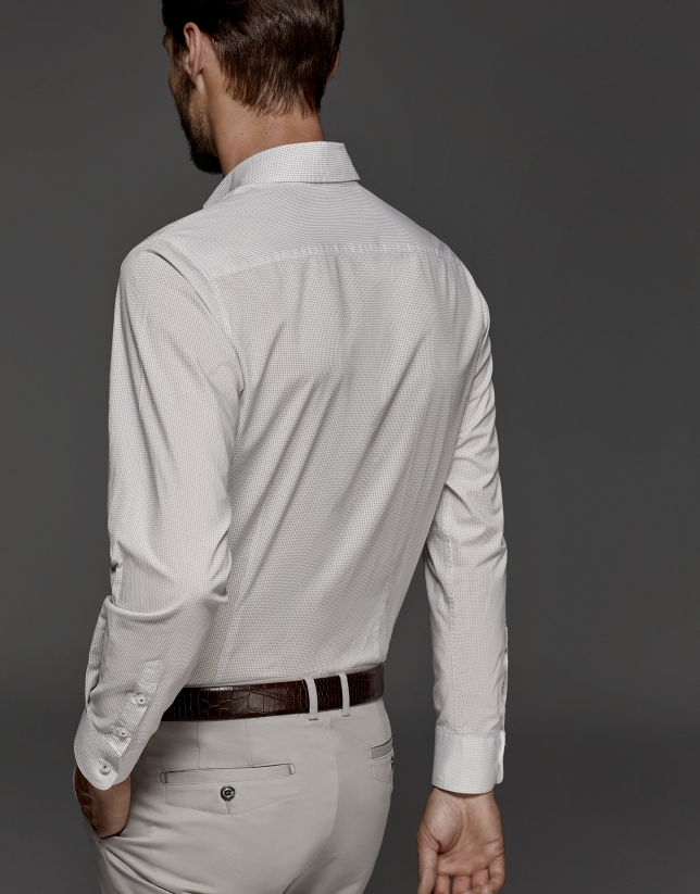 White shirt with brown microprint