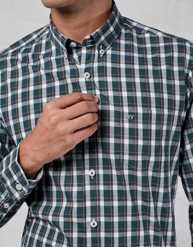 Chemise décontractée à carreaux en blanc et vert