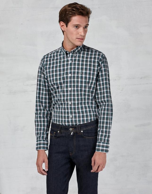 Camisa sport cuadros verde / blanco