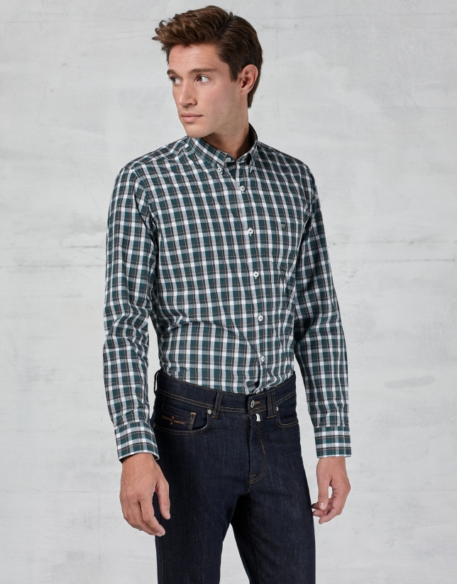 Green / white checked sport shirt