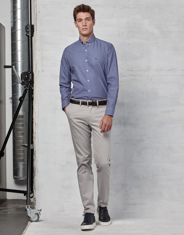 Blue / white checked sport shirt
