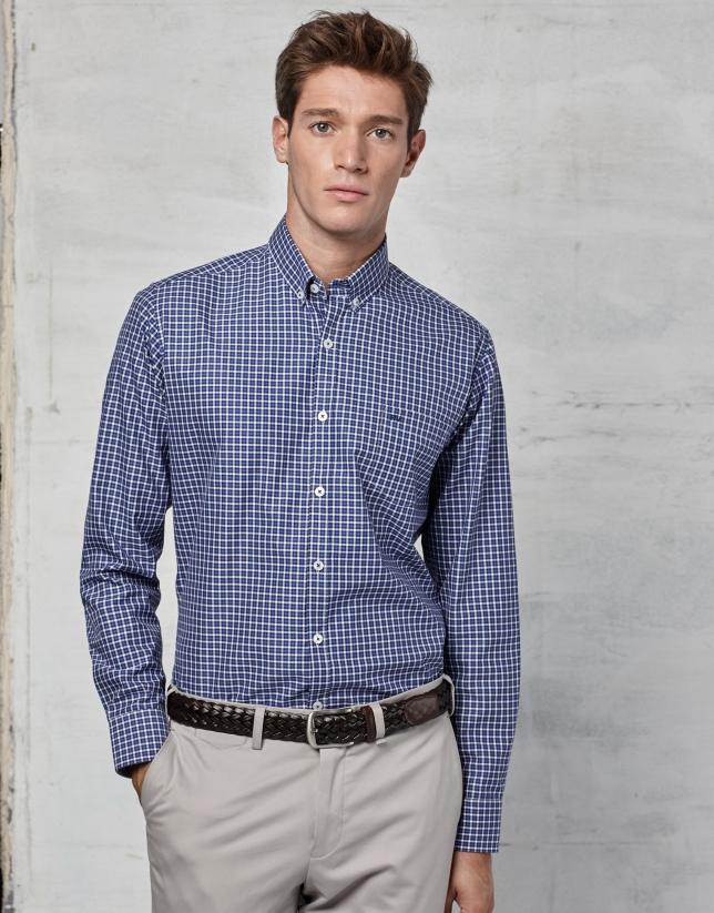 Camisa sport cuadro azul / blanco