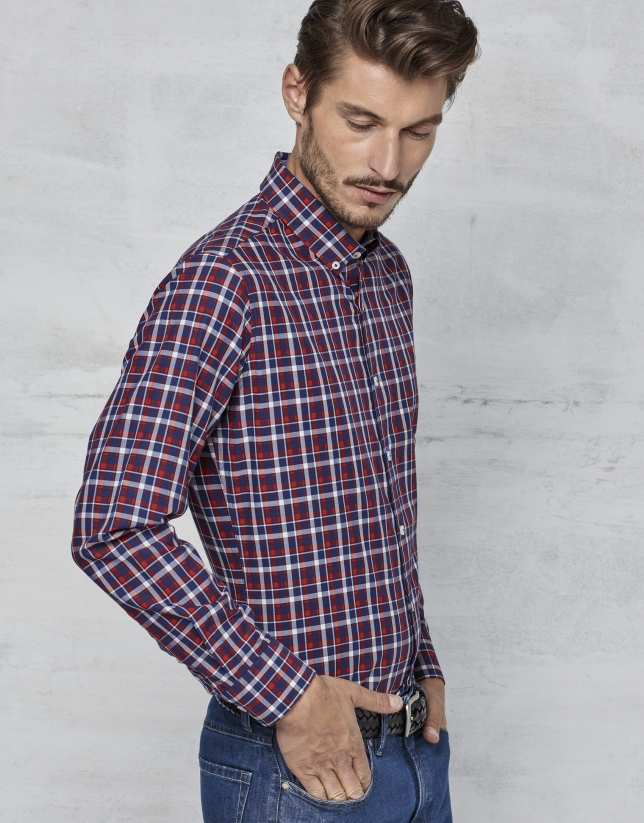 Red / navy blue / white checked sport shirt