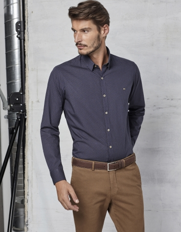 Navy blue shirt with brown paisley