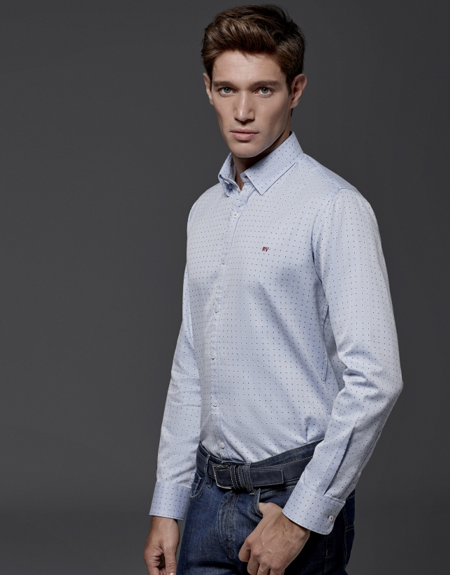 Light blue shirt with red dots