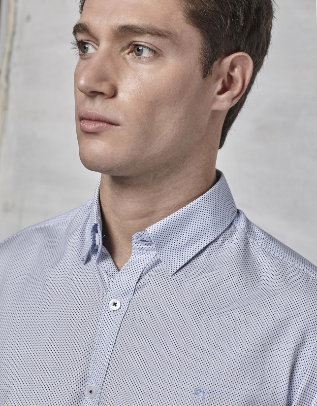 Blue striped and dotted shirt