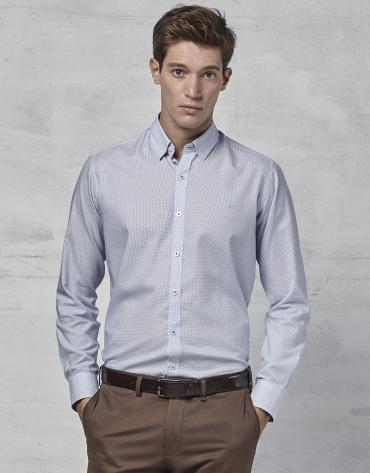 Camisa fantasía topo y raya color azul